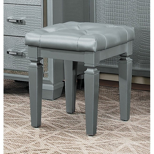 Cool Wooden Vanity Stool With Faux Leather Tufted Seat Gray Alphanode Cool Chair Designs And Ideas Alphanodeonline
