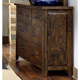 Spacious Wooden Dresser With 7 Drawers, Rustic Burnished Brown