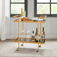 "Madison Park Buffalo Black/ Gold Bar Cart - 32""w x 18""d x 32.5""h"