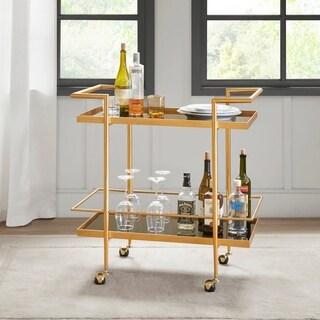 "Madison Park Buffalo Black/ Gold Bar Cart - 32""w x 18""d x 32.5""h"