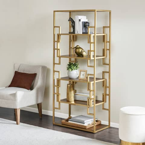 "Madison Park Leslie Gold Bookcase - 31""w x 15.5""d x 68.25""h"