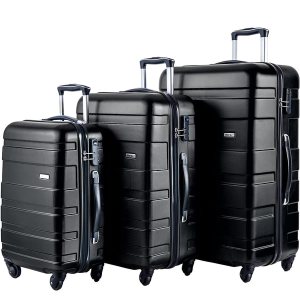 b4e2ea582f81 Shop Merax 3-Piece Hardside Lightweight Spinner and Rolling Luggage ...