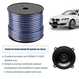 250feet Car Transparent Audio Loud Speaker Wire Cable Sound Horn Cord 12AWG