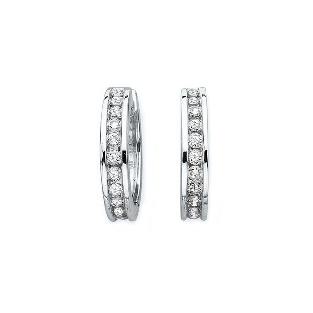 14k White Gold 1ct Tdw Diamond Huggie Hoop Earrings I J I1