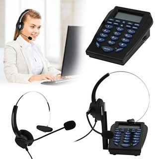 Office Telephone With Corded Headset Earphone Call Center Phone Dial Pad