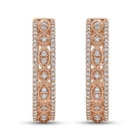 10K Rose Gold 1/2ct TDW Diamond Miligrain Hoop Earrings (G-H, I2)