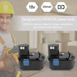 18V 2.0Ah EB1820L 2pcs NiCd Replacement For HITACHI Electrical Power Battery - black& blue