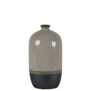 Stoneware Bottle Vase With Black Banded Rim Bottom, Small, Glossy Gray