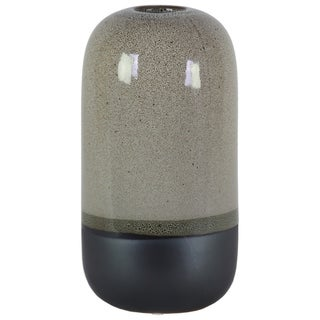 Cylindrical Stoneware Vase With Black Banded Rim Bottom, Large, Glossy Gray