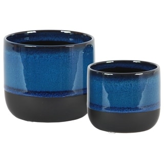 Round Stoneware Pot With Tapered Bottom, Set Of 2, Blue And Black