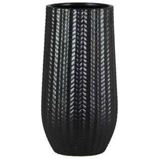 Cylindrical Stoneware Vase With Engraved Zigzag Design, Large, Black