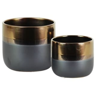 Round Stoneware Pot With Tapered Bottom, Set Of 2, Gold And Gray