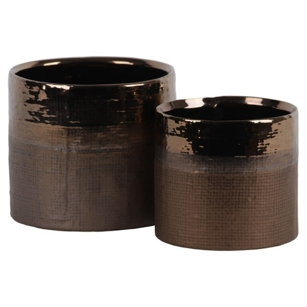 Cylindrical Ceramic Pot With Banded Gold Polished Rim, Set of 2, Gold