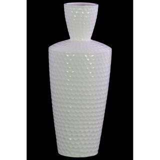 Engraved Diamond Pattern Ceramic Vase With Trumpet Neck, Large, White