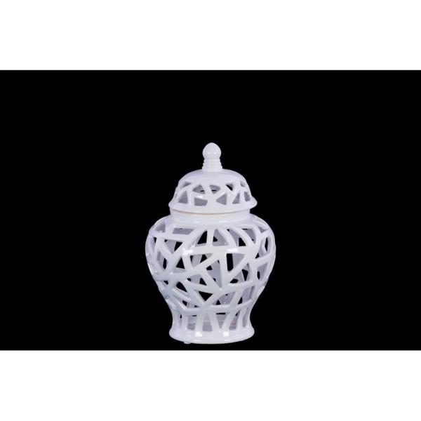 Ceramic Urn Vase With Triangular Cutout Design, Small, White