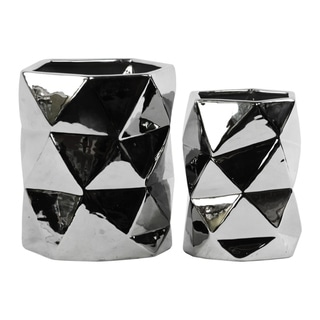 Hexagonal Ceramic Vase With Geometric Pattern, Set Of 2, Silver