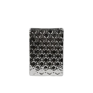 Rectangular Porcelain Vase In Octagonal Pattern, Small, Silver