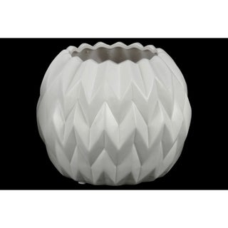 Embossed Wavy patterned Ceramic Low Vase With Uneven Lip, Large, Matte White