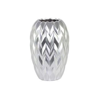Round Ceramic Vase With Embossed Wave Design, Large, Matte Silver