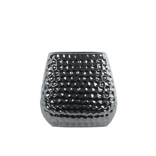 Honeycomb Patterned Ceramic Vase With Tapered Bottom, Small, Silver