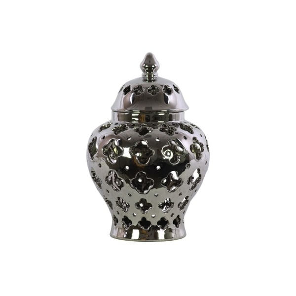 Shop Cutout Quatrefoil Pattern Ceramic Urn Vase With Tapered Bottom