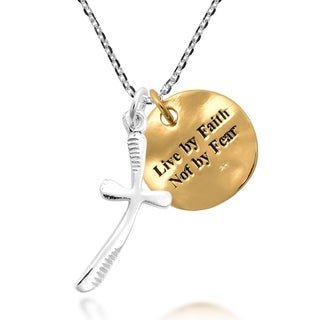 Handmade Live by Faith Not by Fear Tag Cross Sterling Silver Necklace (Thailand)