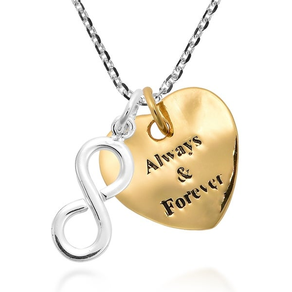 Love Forever Infinity Crystal Heart Silver Tone Pendant Charm Necklace Jewellery
