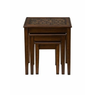 3-Piece Nesting Chairside Table with Mosaic Tile Inlay, Baroque Brown
