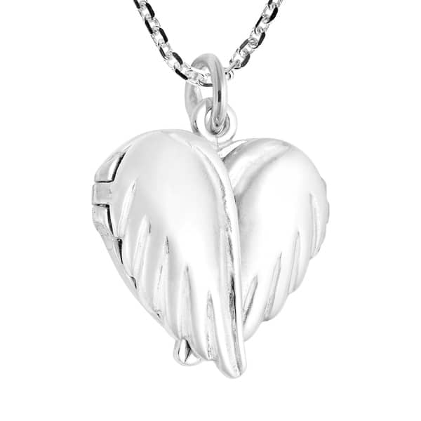 Heart Angel Wings Necklace Sterling Silver Artisan Heart Wings