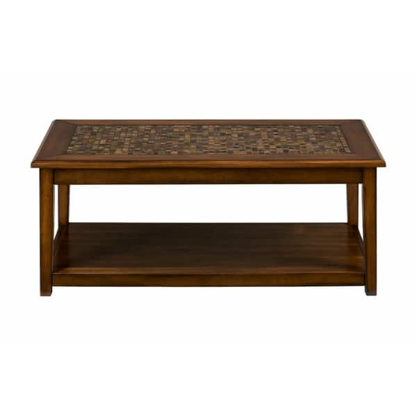 Terrific Mosaic Tile Inlay Wooden Cocktail Table With Bottom Shelf Baroque Brown Ocoug Best Dining Table And Chair Ideas Images Ocougorg