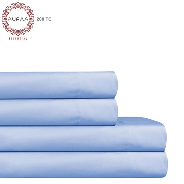 Auraa Essential 200 Tc Long Staple Cotton Sheet Set Smooth Percale Weave