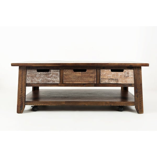 Shop Wooden Cocktail Table With 3 Cutout Handle Drawers Brown