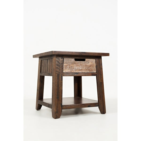 Bottom Shelf Wooden End Table With Cut out Handle Drawer, Brown