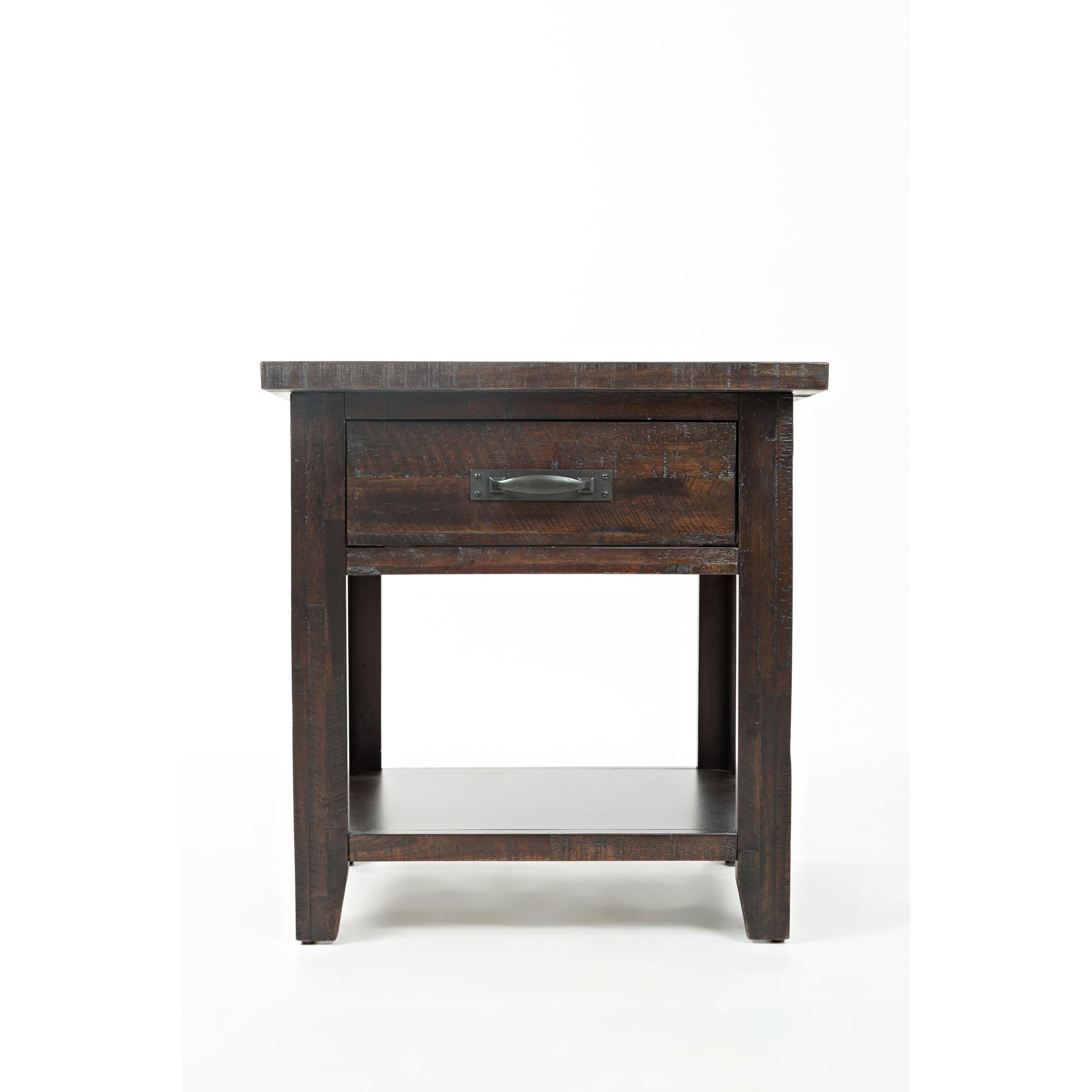 Transitional Wood Metal Nightstand With Bottom Shelf Dark Brown