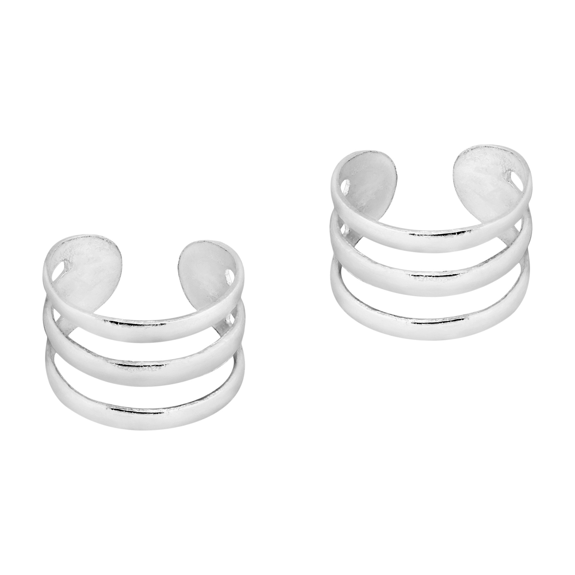 Helix Clip On Earring Style Sterling Silver Ear Cuff Triple Band Design Pair
