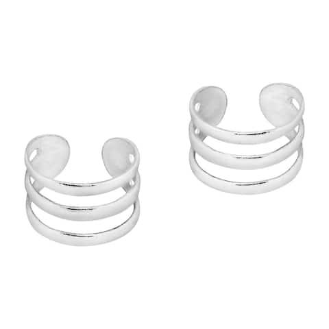 Handmade Pair of Mini Triple Row Sterling Silver Ear Cuff Earrings (Thailand)