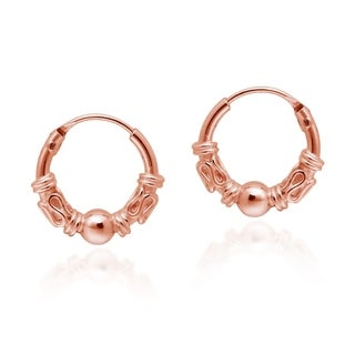 Handmade Mini Classic Balinese Rose Gold Vermeil Over Sterling Silver Hoop Earrings (Thailand)