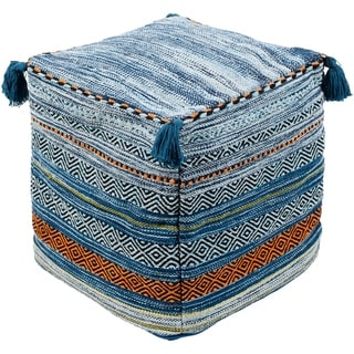 Geometric Ansley Blue Square 18-inch Cotton/Chenille Pouf