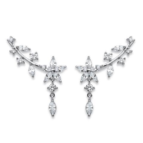 Silver Tone Marquise Cut Ear Pin Earrings Cubic Zirconia