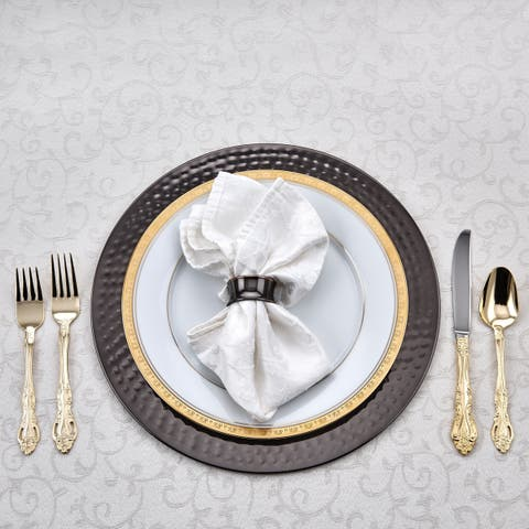 """13"""" D. """"Black Mirror"""" Charger Plates w/Hammered Rim, Set of 6"""