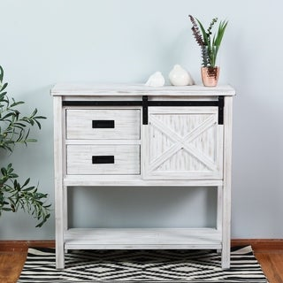 White/Black Wood Sliding Door Console Table
