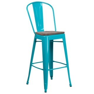 "30"" High Metal Barstool with Back and Wood Seat - 18""W x 19""D x 46""H"