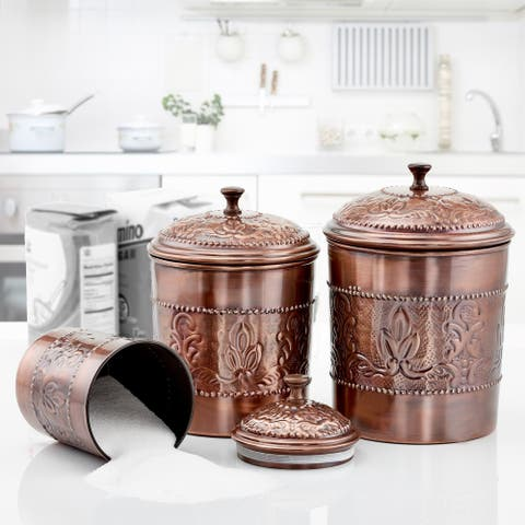 "3 Piece Antique Copper ""Victoria"" Embossed Canister Set 5½ Qt., 4 Qt., 3 Qt."