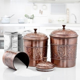 "Link to 3 Piece Antique Copper ""Victoria"" Embossed Canister Set  5½ Qt., 4 Qt., 3 Qt. Similar Items in Kitchen Storage"