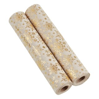 Christmas Fabric Rolls With Foil Printed Snowflakes (Set of 2)