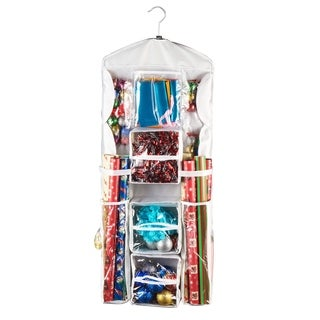 Elf Stor Double Sided Deluxe Hanging Gift Wrap and Bag Organizer Combo