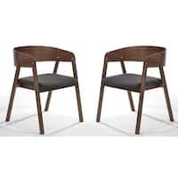 Modrest Oritz Mid-Century Modern Grey & Walnut Dining Chair (Set of 2)