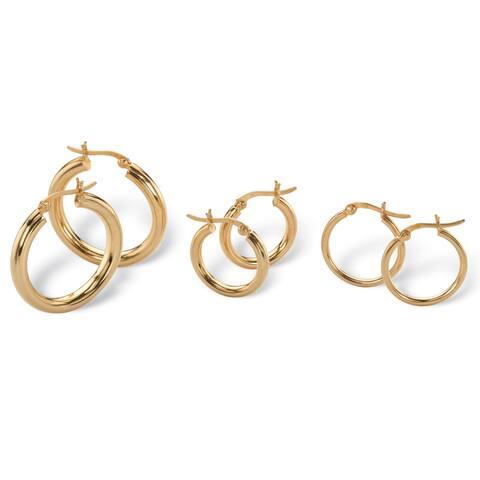 3-Pair Set 18k Gold over Sterling Silver Polished Hoop Earrings