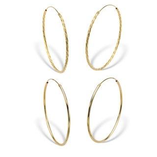 """2-Pair Set 18k Gold over Sterling Silver Eternity Hoop Earrings 2 1/4"""""""
