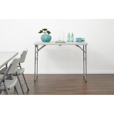 Work Smart 4' Long-Height Adjustable Fold in Half Resin Multi Purpose Table.